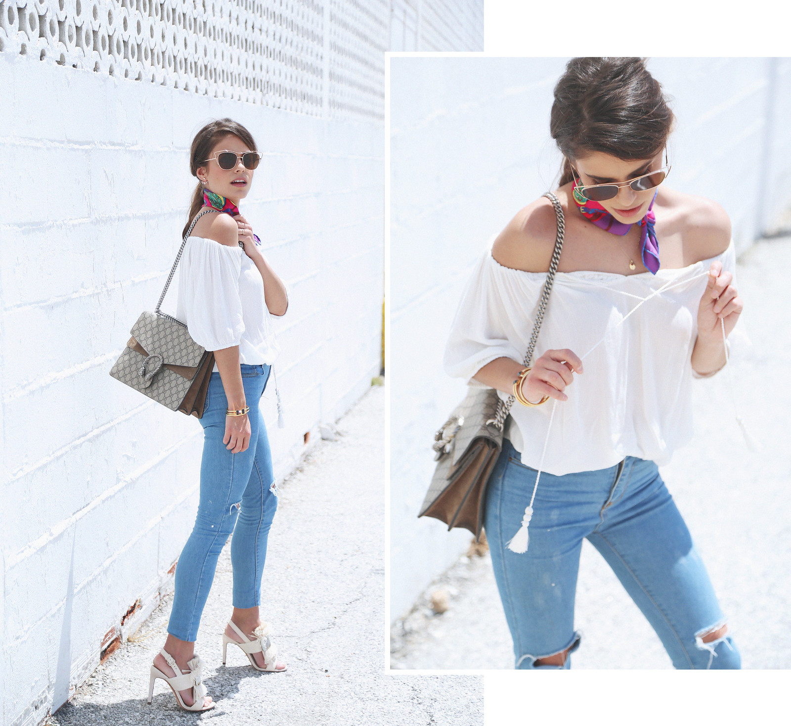 jessie chanes seams for a desire white off shoulder top high waisted jeans gucci bag uterque-0