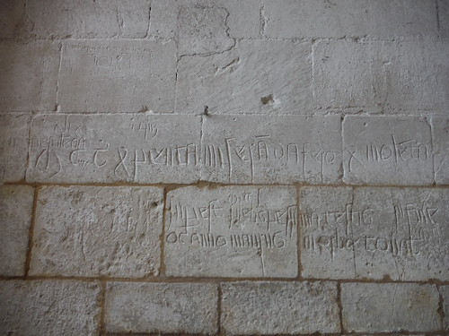 Graffitti on lower wall of church tower, Ashwell