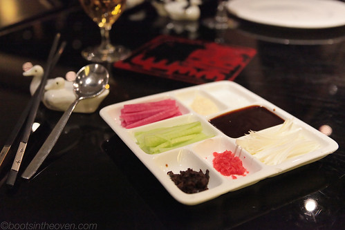An array of condiments (and duck chopstick holders aww!)