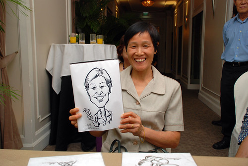 caricature live sketching for wedding dinner @ Goodwood Park Hotel - 7