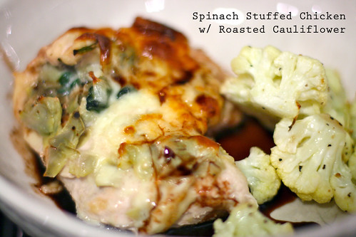 Spinach Stuffed Chicken w/ Roasted Cauliflower