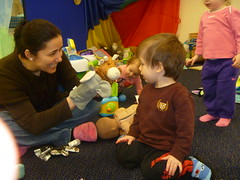 Puppets entertain babies