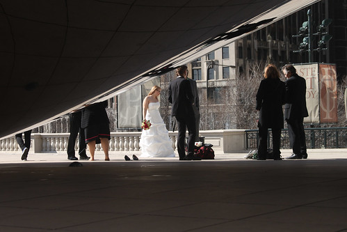 Wedding party at the Bean