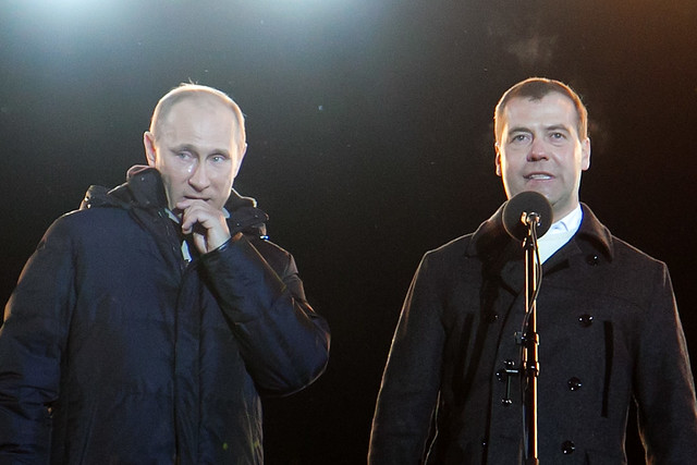 Путин плачет во время выступления на Манежной площади в Москве, 4 марта 2012