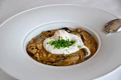 Setas con huevo escalfado - Shiitake