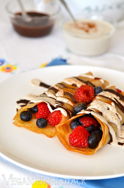 These Zebra Berry Crepes are filled with fresh berries, and drizzled with a rich chocolate sauce, plus a creamy vanilla cashew sauce. Yum!