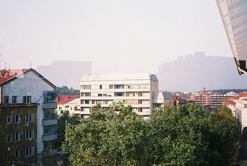 city summer sky urban reflection building tree film skyline view balcony lahti olympustrip35 olympustrip