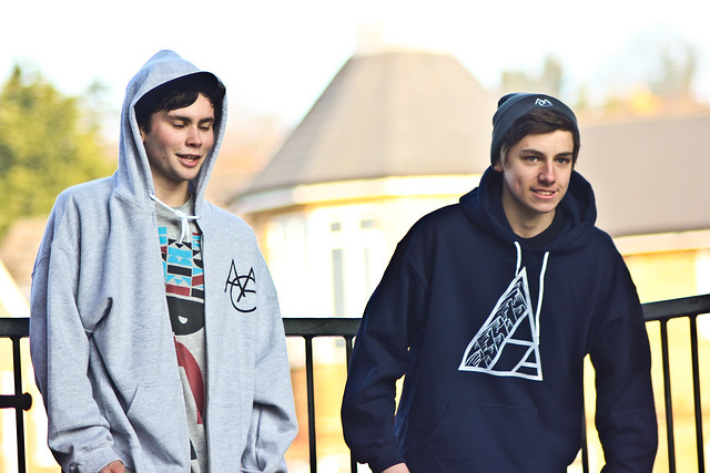 Nick Rodbourne - AAC Grey Zip Up Hoodie and Chris White - Act Appalled Navy Hoodie