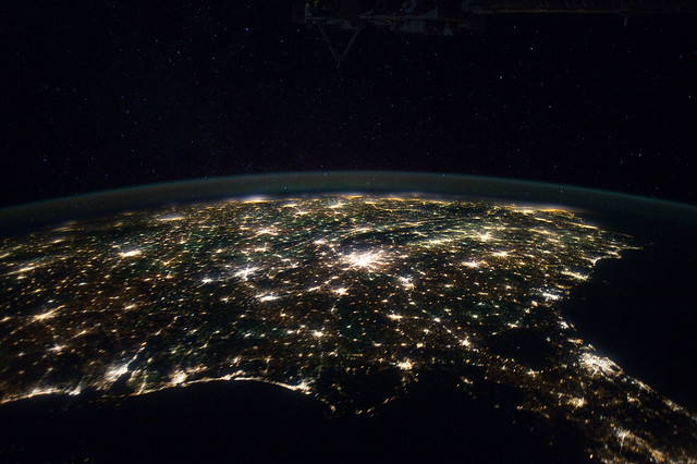 Southeastern USA at Night (NASA, International Space Station, 01/29/12)