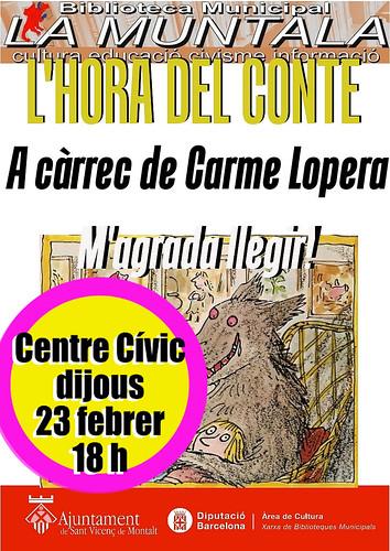 L'hora del conte a càrrec de Carme Lopera @ Centre Cívic dijous 23 febrer 18 h. by bibliotecalamuntala