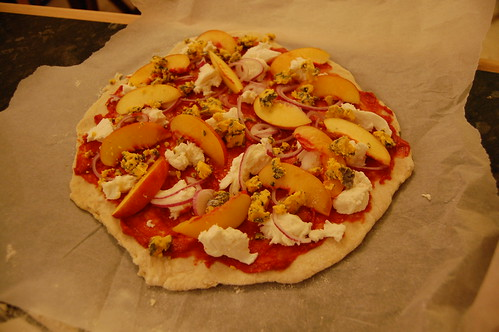 Nectarine and blue cheese pizza