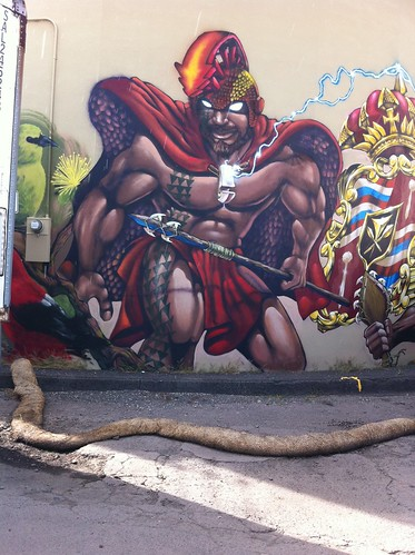 Awesome mural representing the Hawaiian coat of Arms