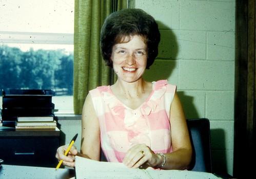 Gerig, Joy @ desk '70's