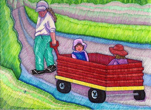 Canuck Kids in Big Red Wagon