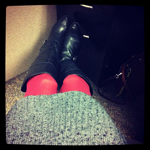 9:30 am. Ho hum, working, but I'm wearing my favorite sweater dress and rust-colored stockings, yay!