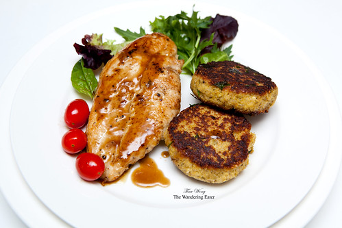 Quinoa patties with sautéed chicken breast