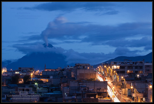 travel vacation sky cloud mountain holiday mountains southamerica night clouds landscape lights volcano evening ecuador twilight dusk bluesky sierra andes bluehour volcanic volcán tungurahua andesmountains