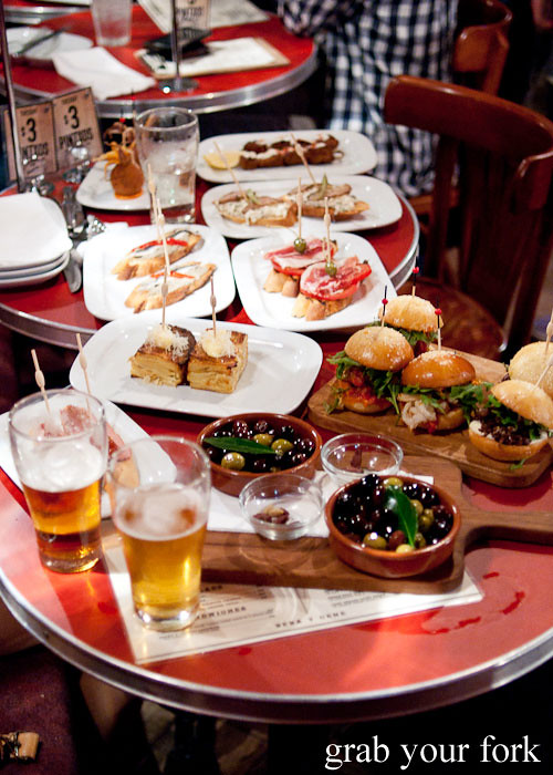 Pintxos spread at The Carrington Surry Hills
