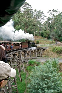 Puffing Billy crossing bridge