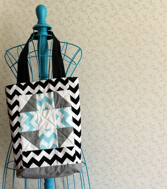 Quilt Block Chevron Tote Bag