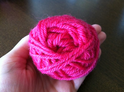 tiny ball of yarn that will become a tiny mitten!