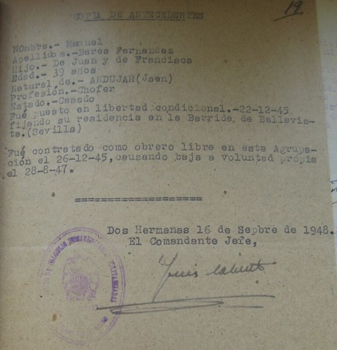 "Antecedentes ""penales"" de Manuel Barea Fernández, natural de Andújar"
