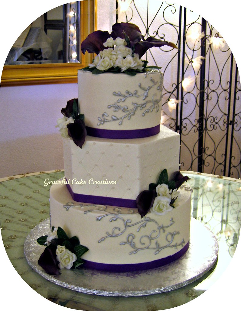 White Purple And Silver Wedding Cakes