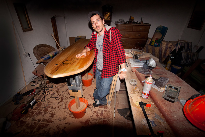 In the shaping room with hollow wooden fish.