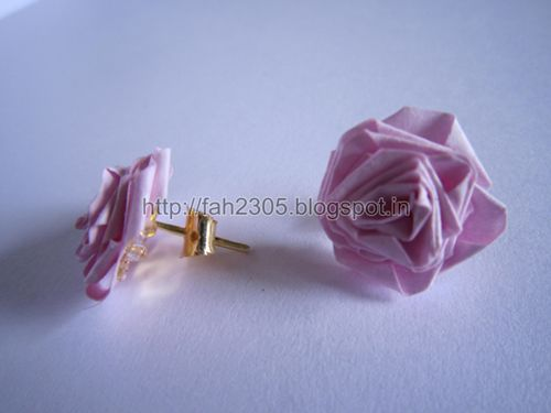 Handmade Jewelry – Paper Strips Rose Stud  1 by fah2305