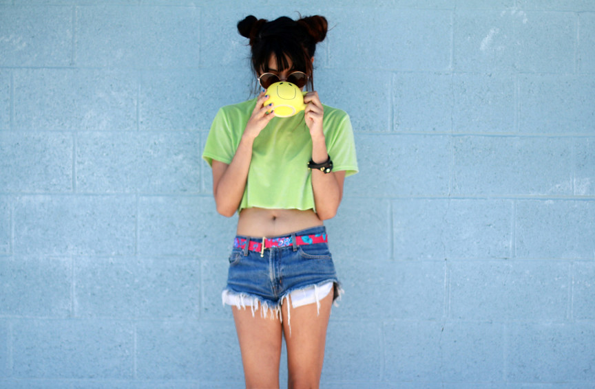 Tarte Vintage 90's Fashion Lime Green Velvet Crop Top Tank Top - shoptarte.com
