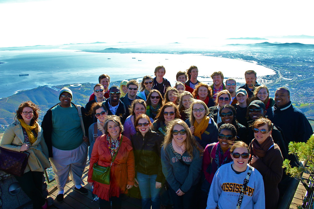 Mississippi College Singers on top of Table Mountain, overlooking Cape Town