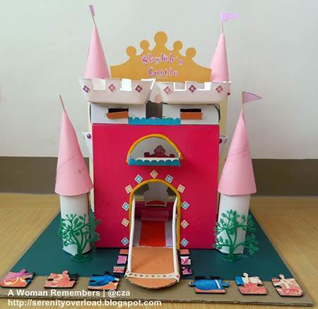 castle,recycling,arts crafts,Recyled Materials Princess Castle,school project