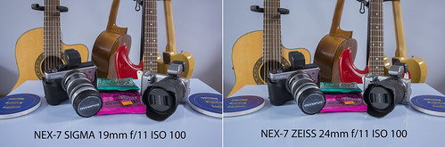 Comparison between SIGMA 19mm f/2.8 and ZEISS 24mm f/1.8 SONY NEX-7 @ f/11