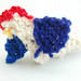 odin's creations -  crocheted patriotic chickens.