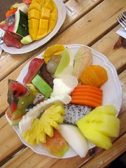 Lunchtime! All you can eat fruit buffet.