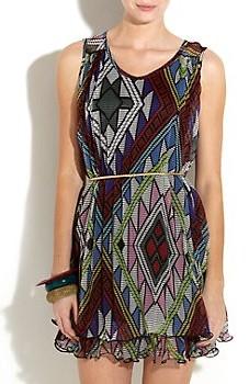 Simrik Pleated Patterned Dress