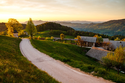 road morning houses tree colors sunrise colours view path slovenia slovenija gora limbarska