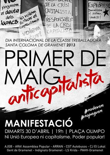 Cartell Santa Coloma Anticapitalista 30 abril 2013