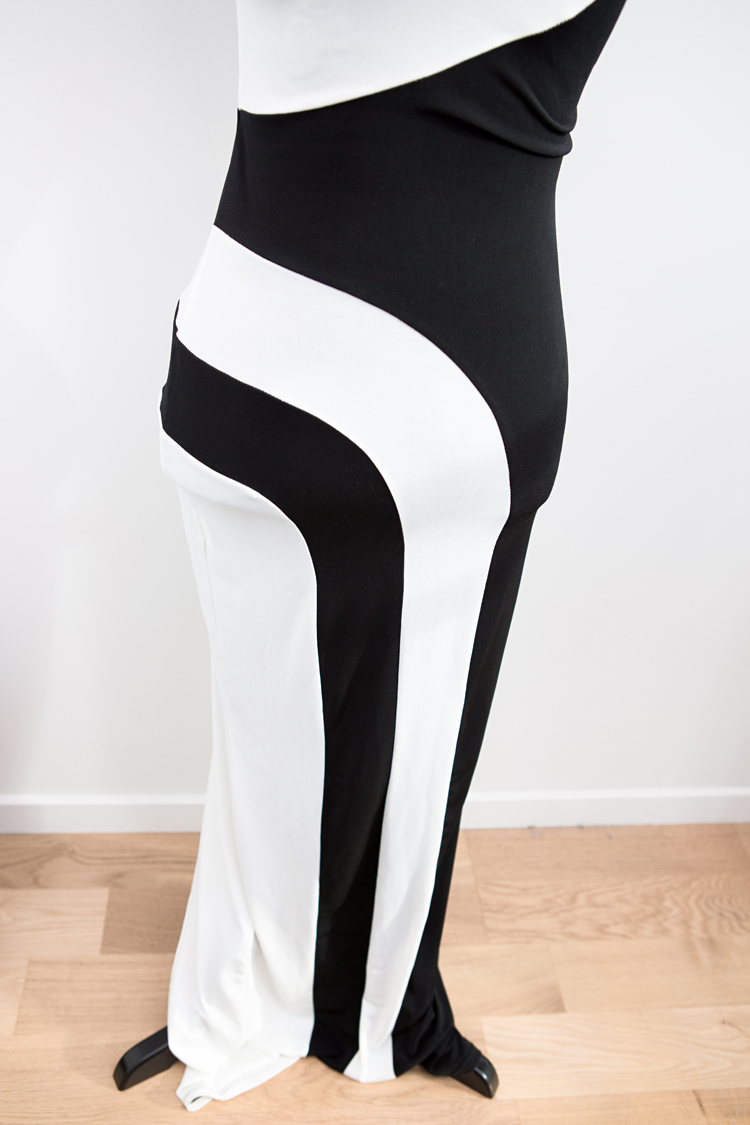 LOVE Black And White Swirl Maxi Dress
