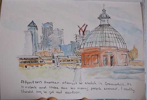 Pen & watercolour sketch of Greenwich Foot Tunnel, London
