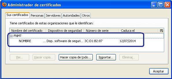 Certificado importado