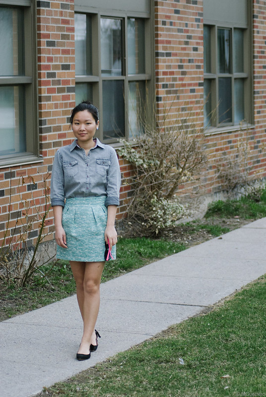 chambray shirt tulip skirt