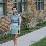chambray top mini skirt
