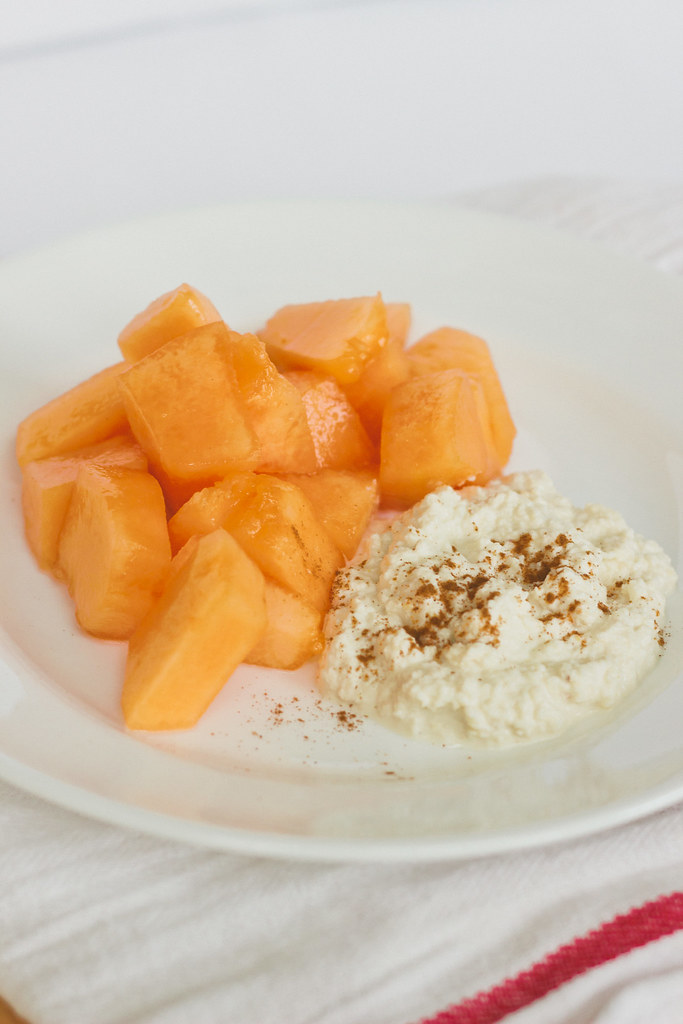 {cantaloupe with almond lebneh and cinnamon} via chevrons & éclairs