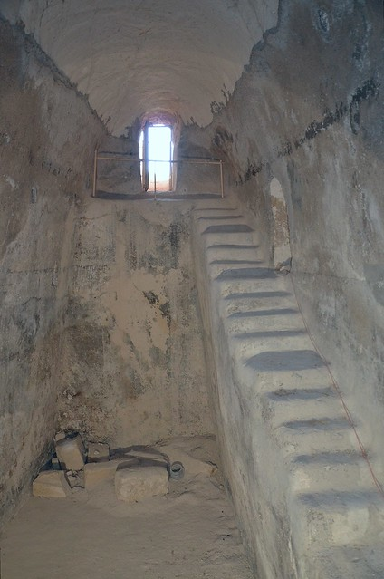 One of the largest water cisterns from Herod's time which collected rainwater from the hill's slopes, the large stones came from Herod's tomb, Herodium, Israel