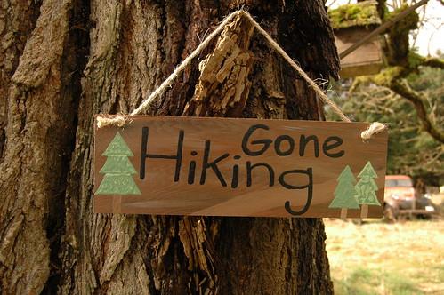 Gone Hiking, wood sign
