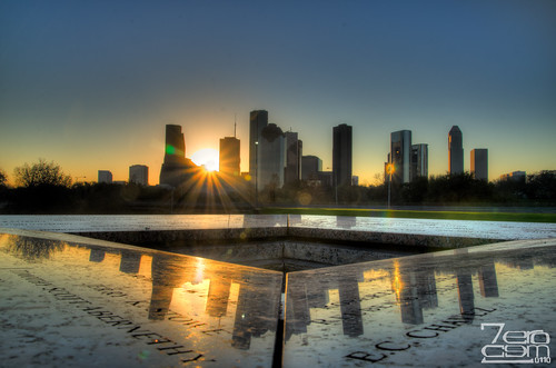usa sun reflection building sunrise nikon memorial downtown texas houston places hdr photomatix policeofficersmemorial d7000 nikond7000