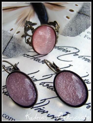 Anel e brincos vintage rosa by kideias - Artesanato