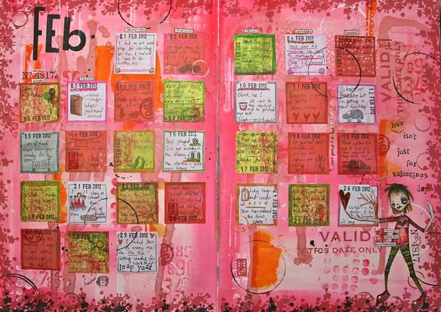 Art Journal Calendar Tutorial : Art journal calendar february finished flickr