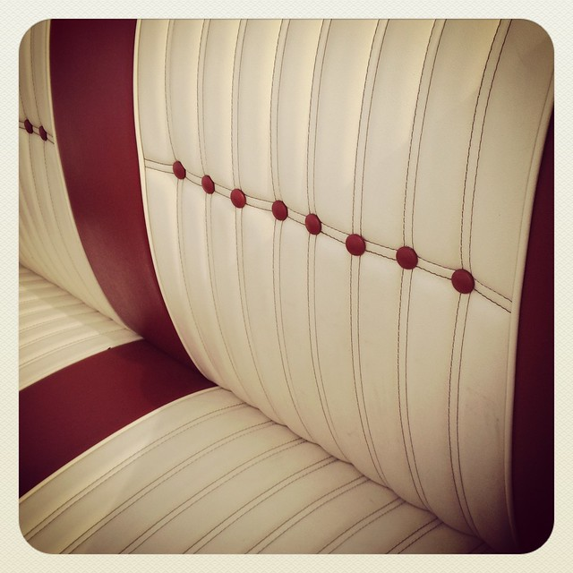 upholstery red white leather custom car show margaret hunt hill bridge grand opening dallas. Black Bedroom Furniture Sets. Home Design Ideas